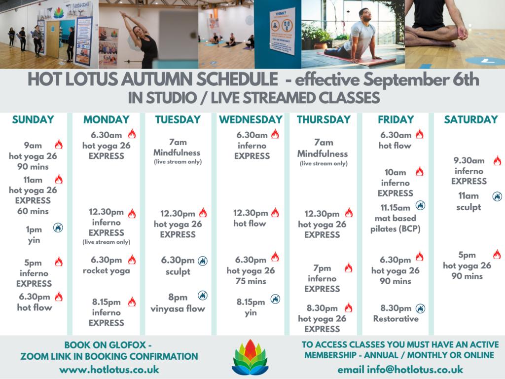 Hot Lotus autumn 2020 timetable