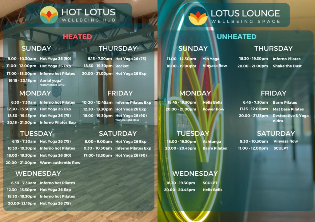 Hot Lotus timetable